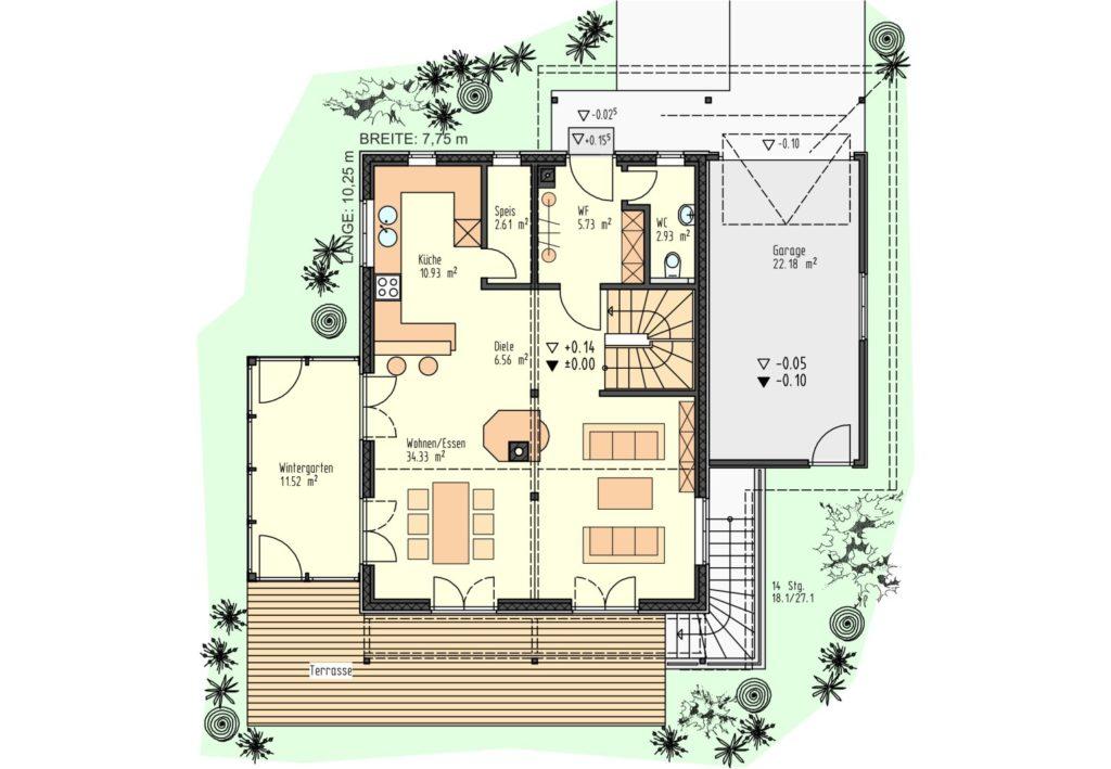 Grundriss EG 75 m²