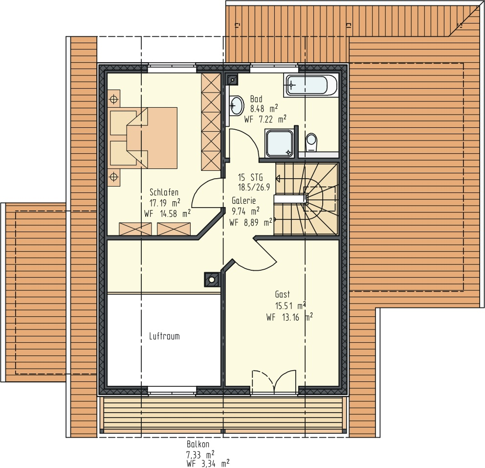 Grundriss DG 58 m²