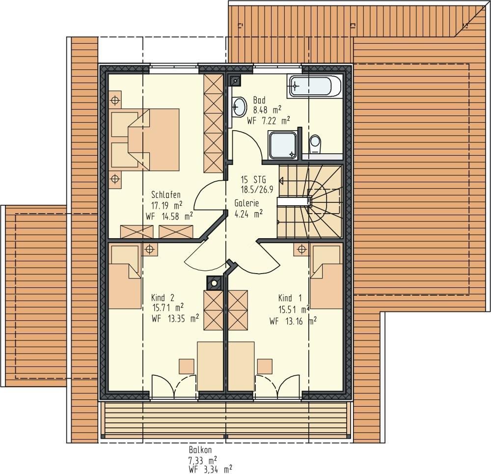 Grundriss DG 68 m²